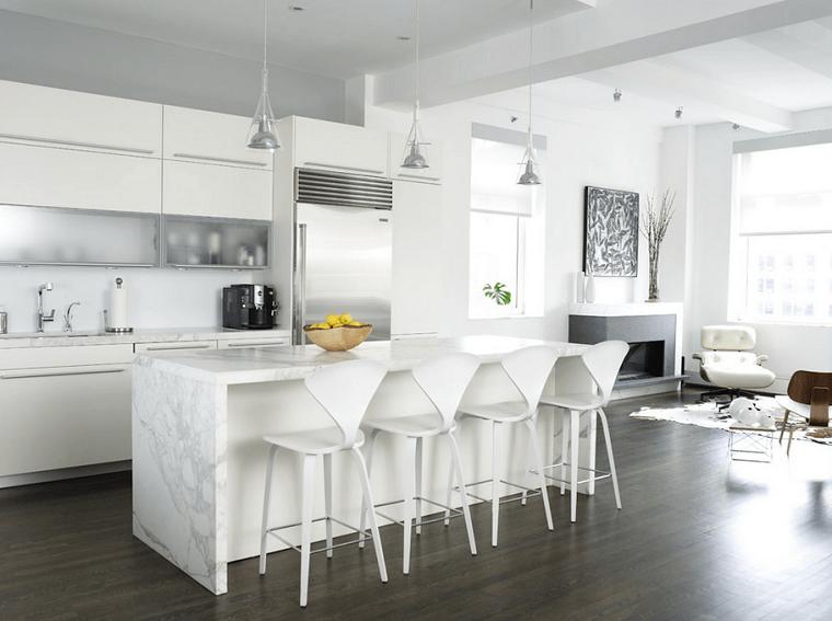 cucina bianca lucida isola centrale