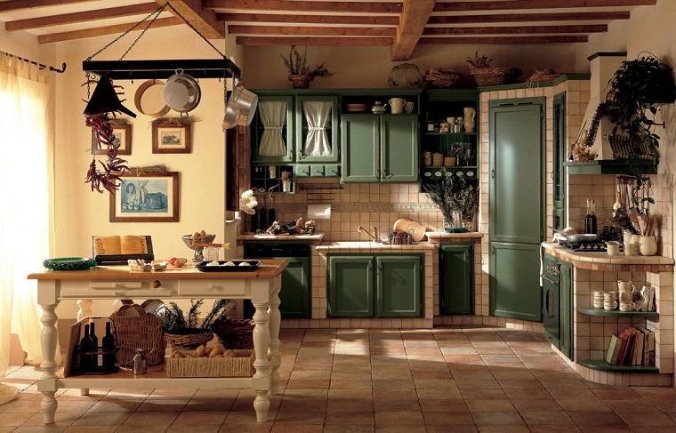 cucina muratura design rustico colore verde oliva