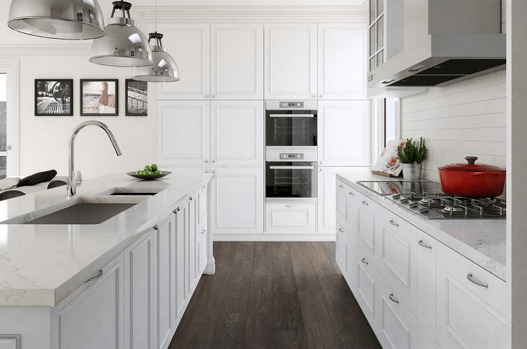 cucine bianche idea contrasto bianco nero