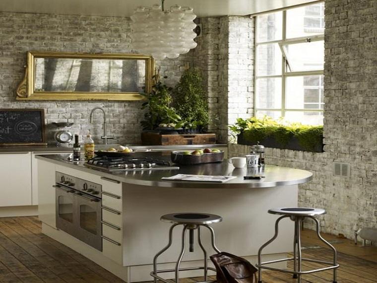 cucine in muratura grande isola tavolo