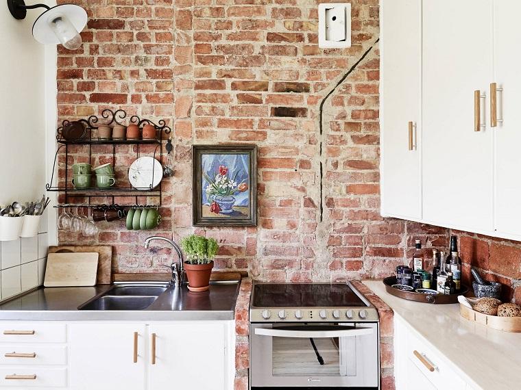 cucine in muratura mobili moderni bianchi