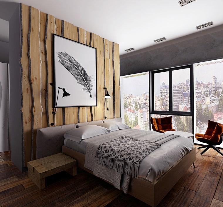 Parete in legno, quadro con piuma, comodino in legno, letto con testa in tessuto