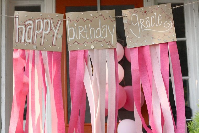decorazioni compleanno fai da te festoni carta crespa