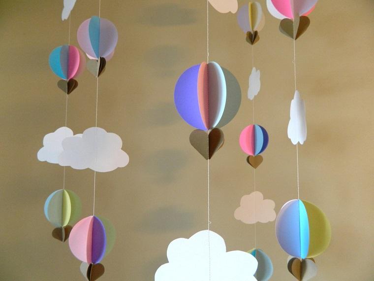 decorazioni compleanno fai da te festoni forma mongolfiera nuvole