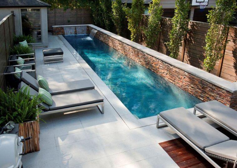 forma rettangolare piscina moderna fontana