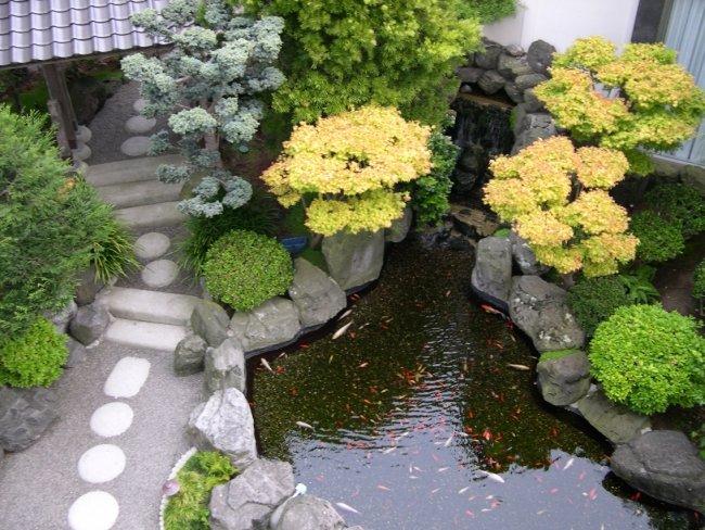 giardini modrni laghetti recintati sassi fiori