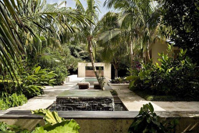 giardino tropicale fontana calcestruzzo design speciale