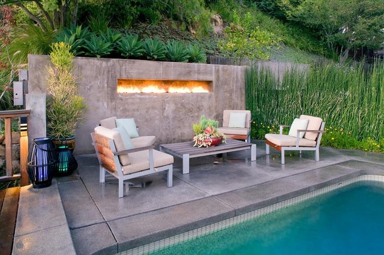 idea arredare esterno casa mobili moderni piscina