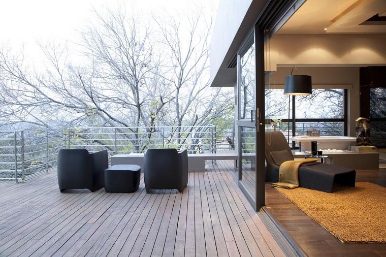 idea arredo minimal terrazzo grande pavimento legno