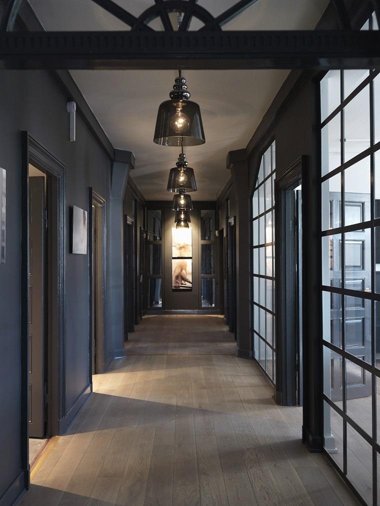 idea corridoio moderno colori scuri