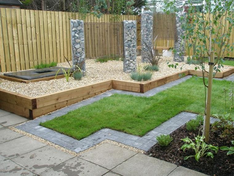 idea decorazione giardino gabbioni metallici recinzione legno
