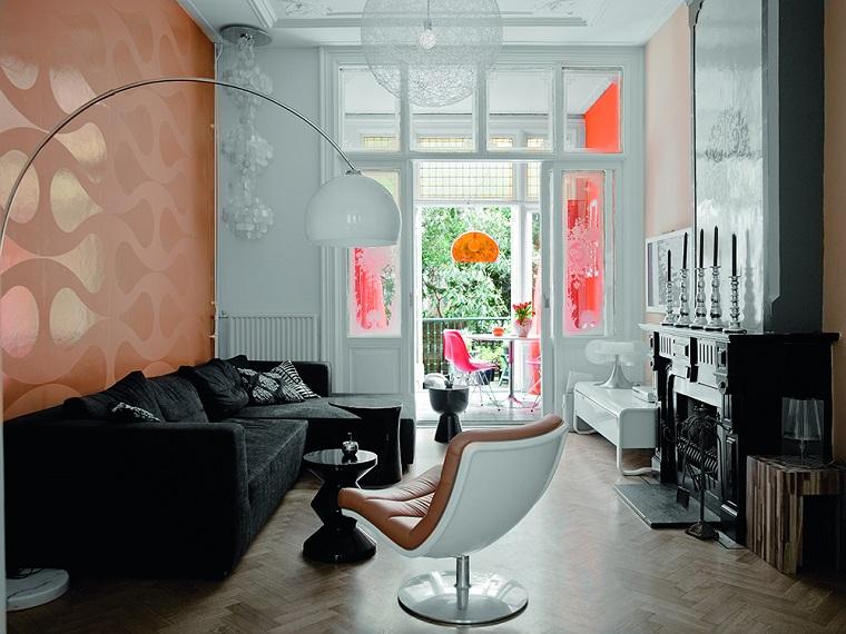 idea decorazione salotto piccolo colori espressivi