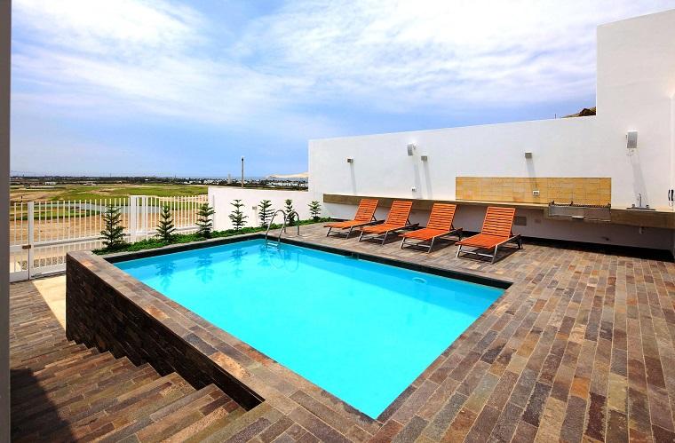 idea piscina seminterrata casa esterno moderno