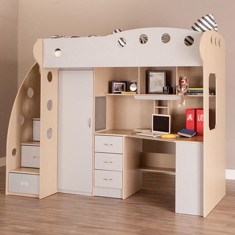 Letto soppalco con varie soluzioni salvaspazio di design for Kids craft table canada