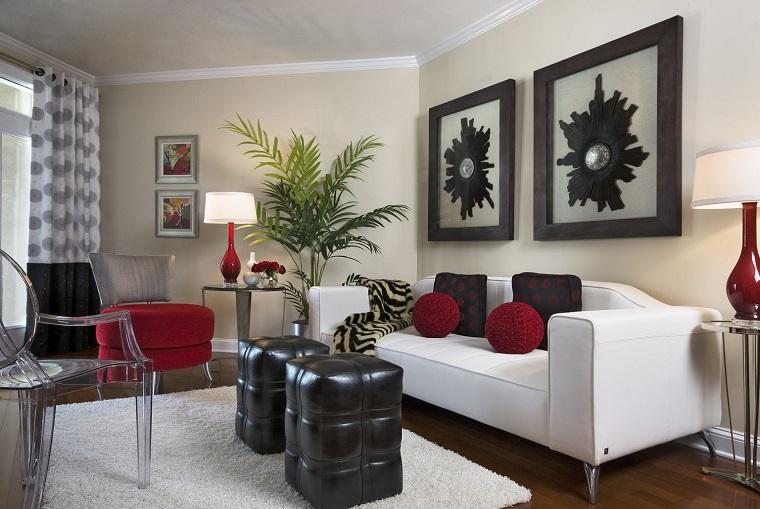 idea soggiorno elegante accenti colore rosso