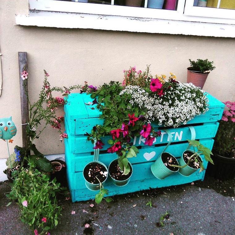 idee giardino porta vasi pallet