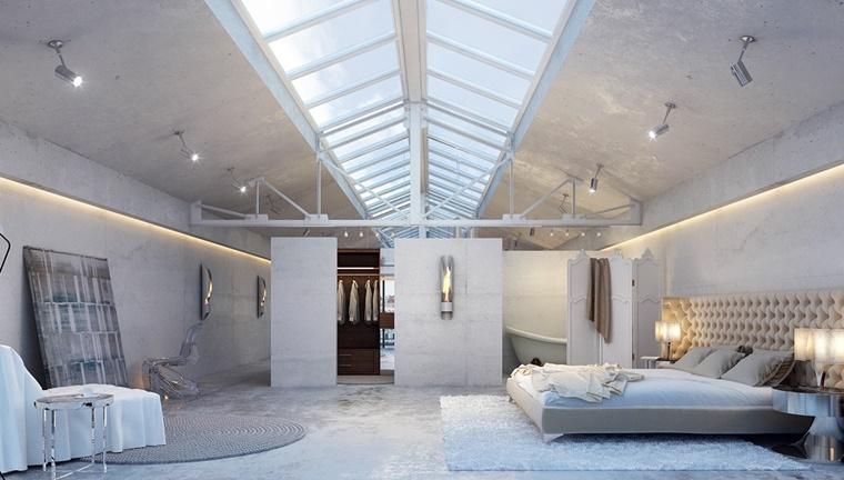 interior design moderno loft total white