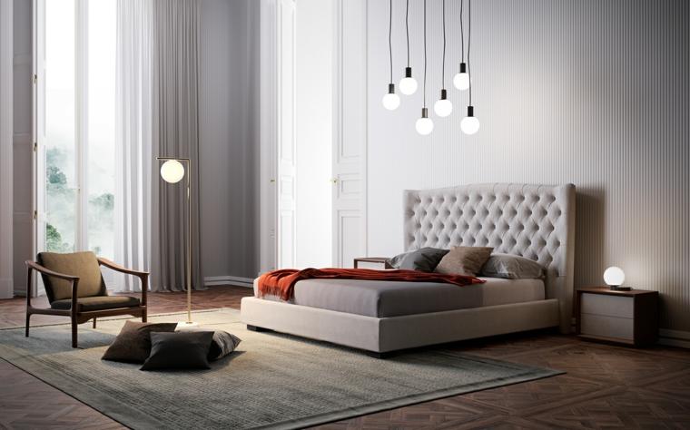 Come abbellire camera da letto, lampadine sospese, letto con testata alta, comodino con cassetti