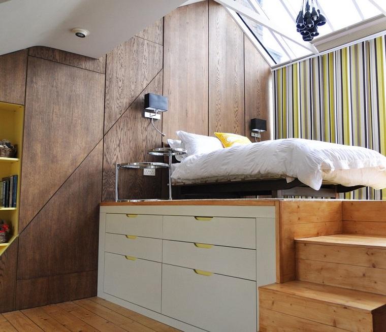 letto soppalco design scalini legno