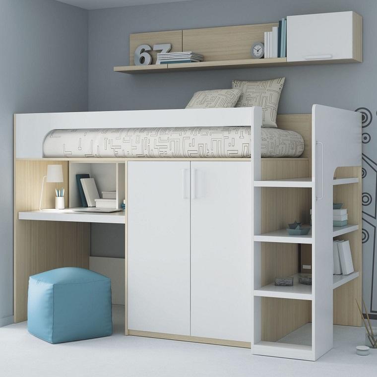 letto soppalco legno colore bianco scrivania integrata