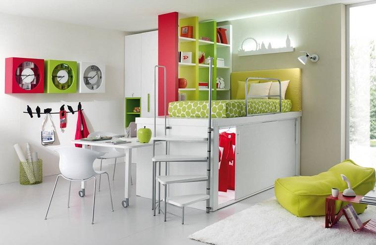 letto soppalco soluzione salvaspazio mobili colorati