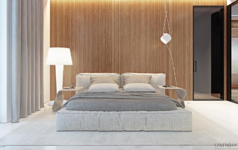 Parete camera da letto in legno, letto basso in tessuto, comodini di metallo