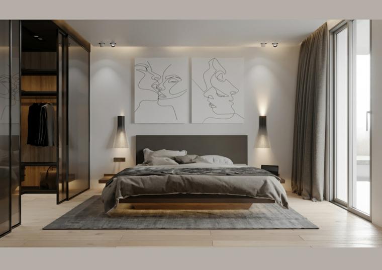 Camera da letto con cabina armadio, letto con testata grigia, quadri da parete, lampade da parete