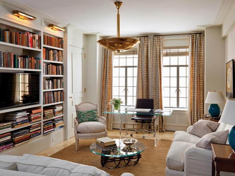 libreria cartongesso zona living classica
