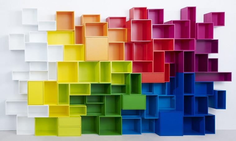 libreria in cartongesso forma cubi colorati
