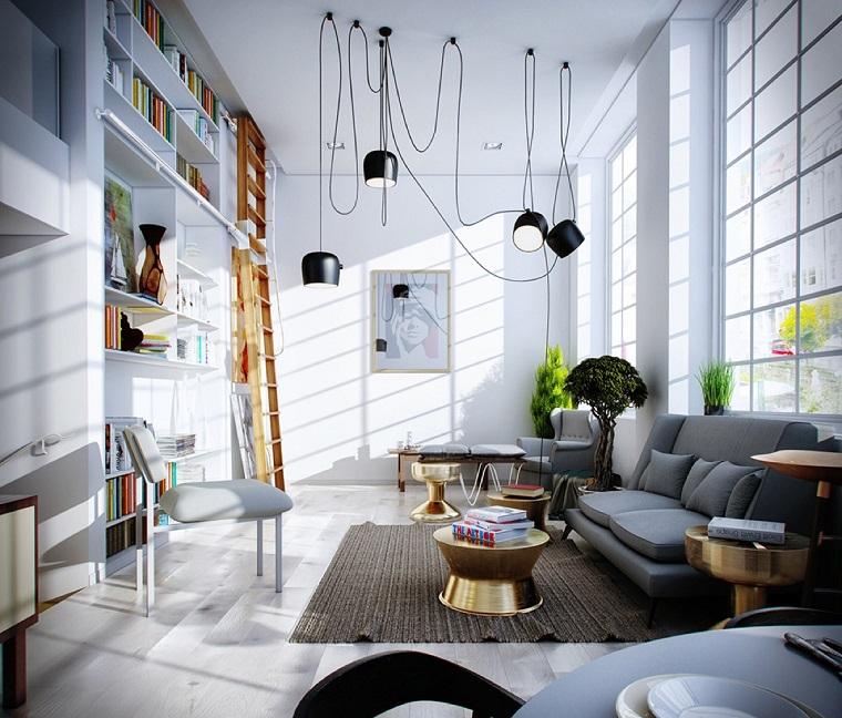 libreria in cartongesso living moderno