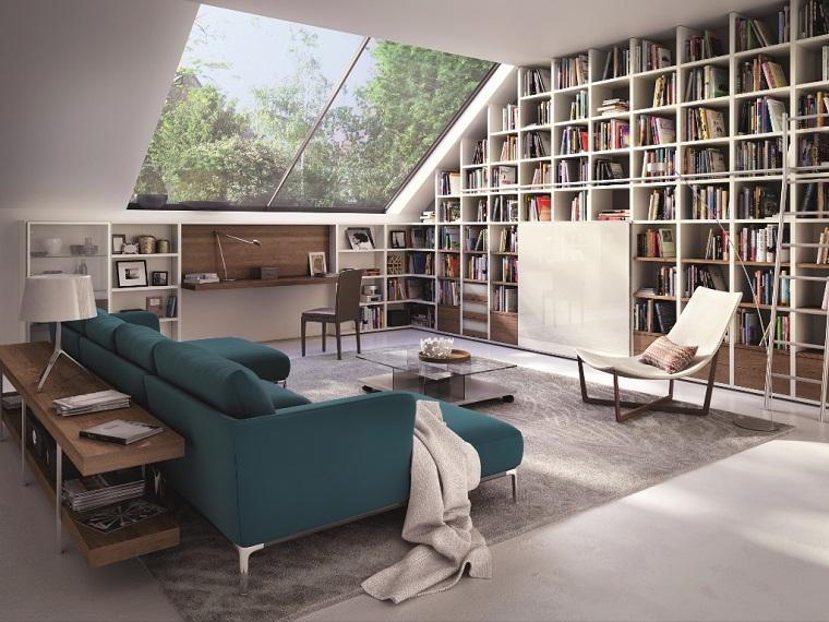 librerie in cartongesso idea stanza mansardata
