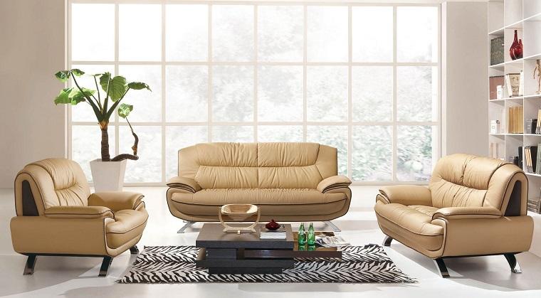 living moderni divani design pelle beige