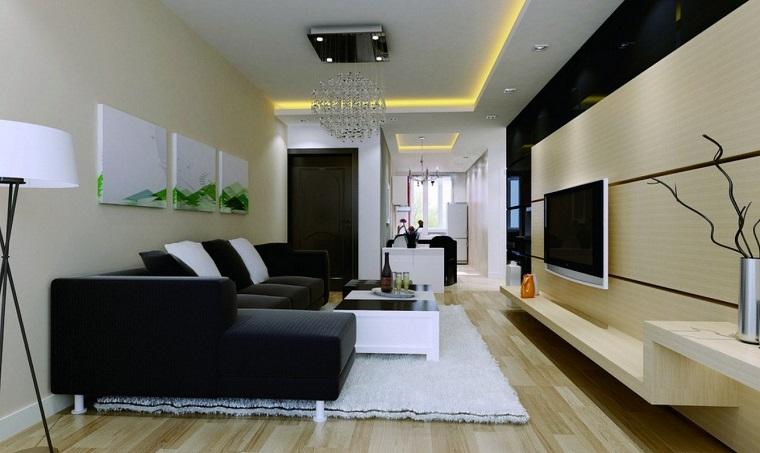 living moderni divano penisola nero