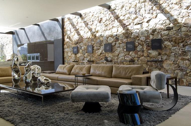 mattoni a vista design rustico soggiorno