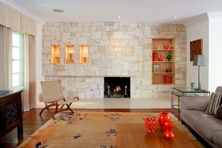 mattoni a vista soggiorno rustico moderno