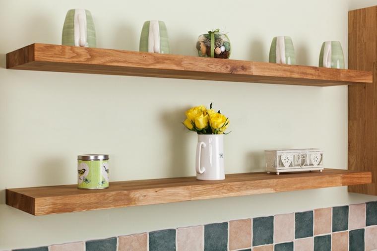 mensole legno naturale cucina contemporanea
