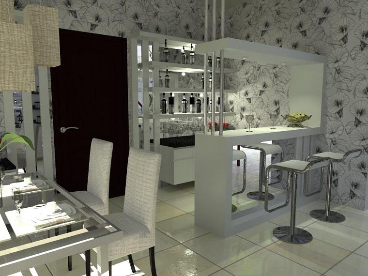 mobile bar moderno bianco laccato