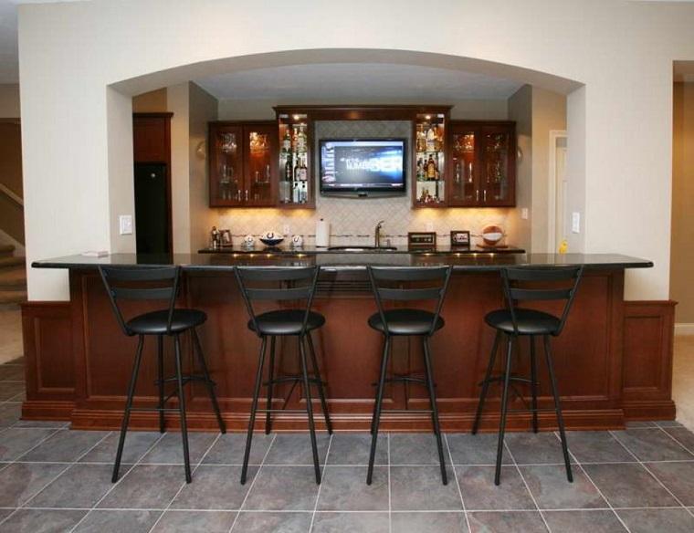 mobili bar legno top nero