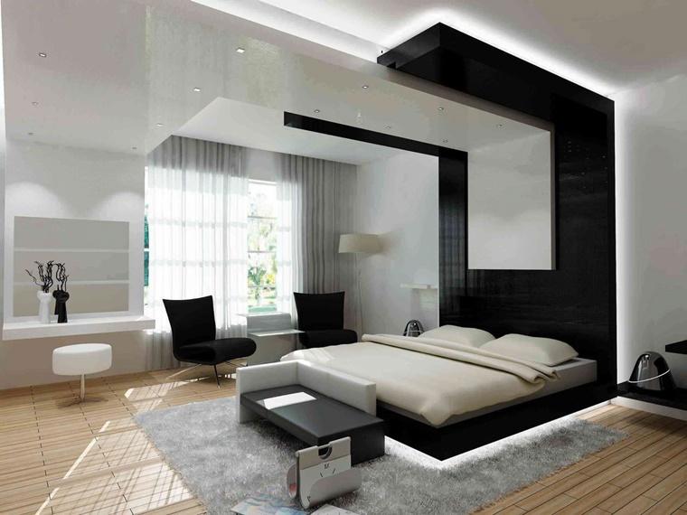 mobili moderni camera letto accenti colore nero