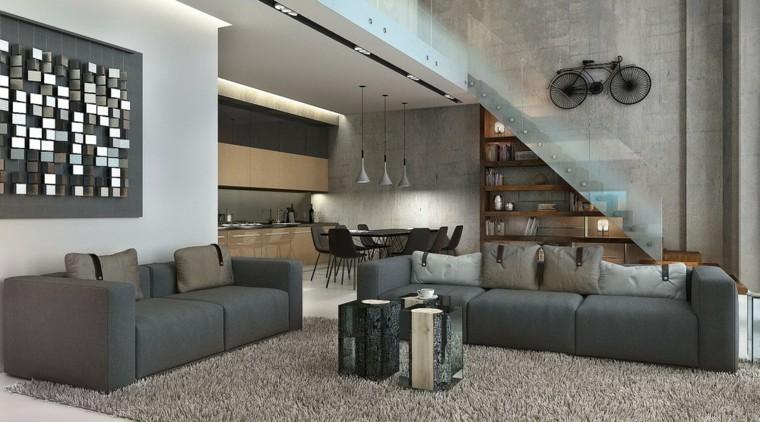 monolocale moderno arredi decoraizoni grigio