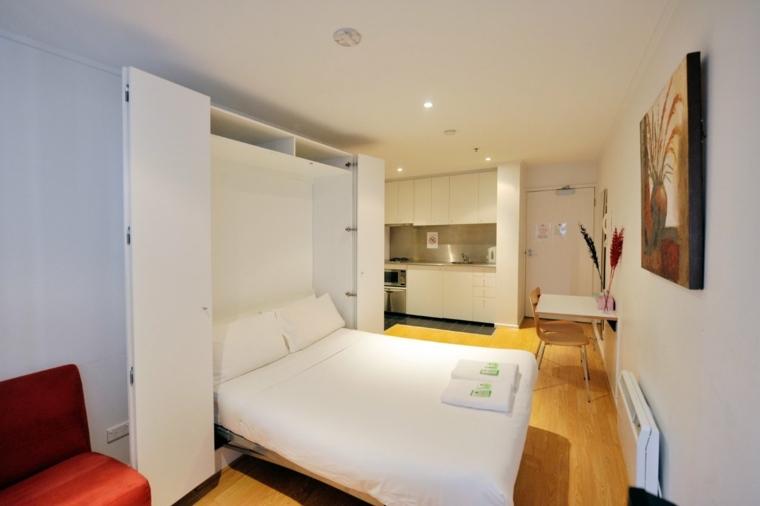 monolocale moderno letto pieghevole pavimento laminato effetto legno