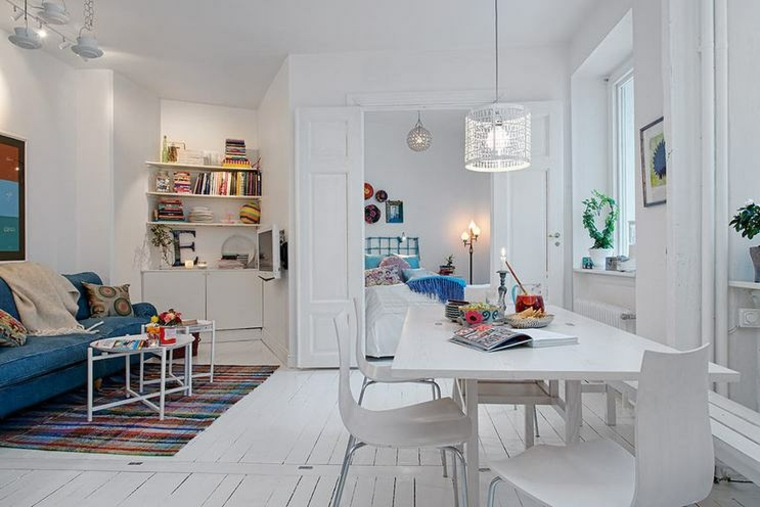 monolocale moderno stile minimal pareti attrezzate lampadari sospensione