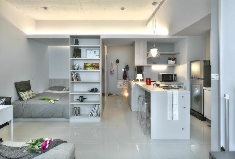monolocale tocco bianco grigio pavimento gres porcellanato