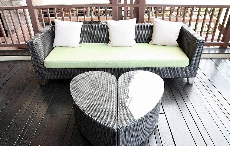 outdoor terrazzo divano tavolino forma cuore rattan