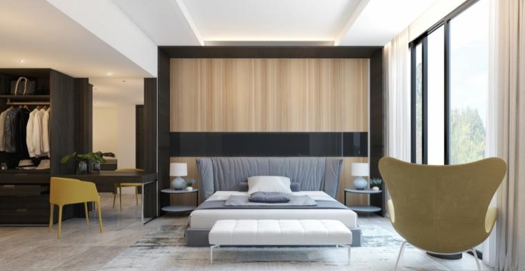 Camera da letto con armadio a vista, letto con testa imbottita, scrivania con sedia