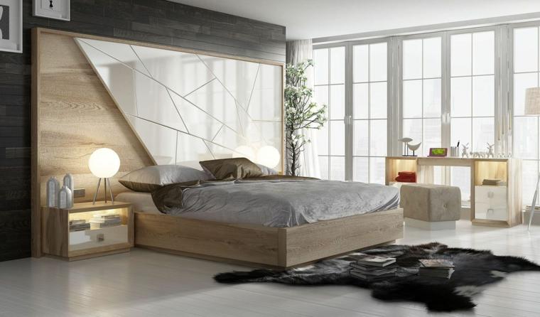 Testata letto effetto piastrelle, letto in legno, zona notte con finestre, tappeto peloso nero