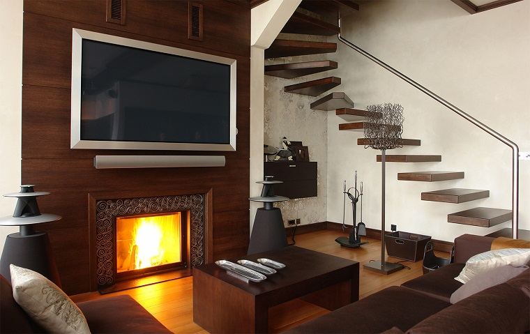 Parete attrezzata con camino e tv 18 modi per arredare il soggiorno - Parete con camino ...