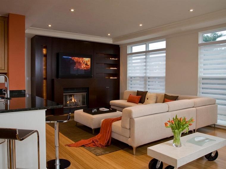 Parete attrezzata con camino e tv 18 modi per arredare il Soggiorno stile moderno