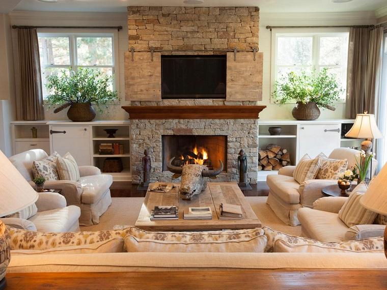 Parete attrezzata con camino e tv: 18 modi per arredare il soggiorno - Archzine.it