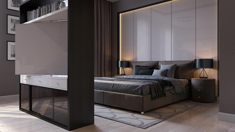 Camere da letto moderne, parete divisoria con tv, parete con retro illuminazione